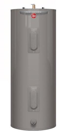 Residential water heater is dark grey.